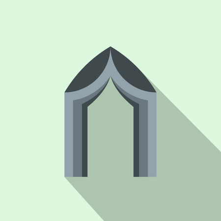 interiors: Arch tent icon in flat style with long shadow. Construction and interiors symbol