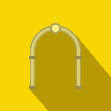 interiors: Oval arch icon in flat style with long shadow. Construction and interiors symbol