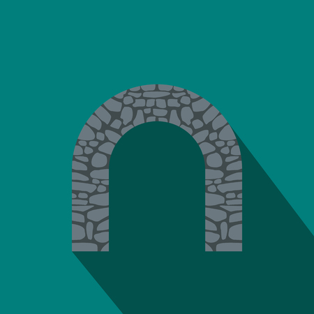 stone arch: Stone arch icon in flat style with long shadow. Construction and interiors symbol Illustration