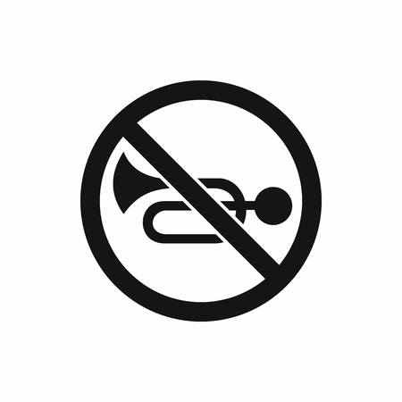 decibel: No horn traffic sign icon in simple style isolated on white background