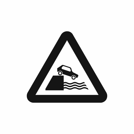 riverbank: Riverbank traffic sign icon in simple style isolated on white background