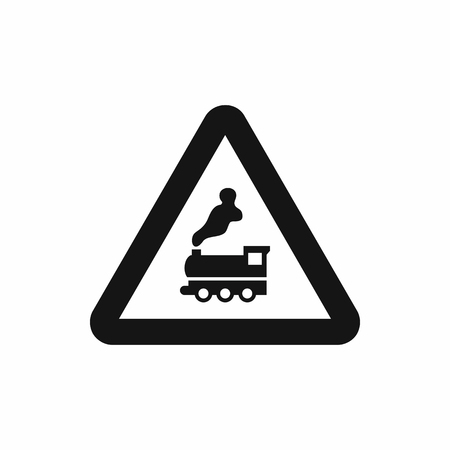 signal pole: Warning sign railway crossing without barrier icon in simple style isolatedon white background