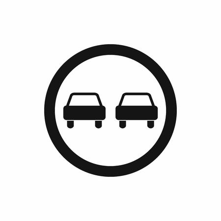 no pase: Sin icono se�al de tr�fico adelantamiento de forma sencilla aislado en el fondo blanco