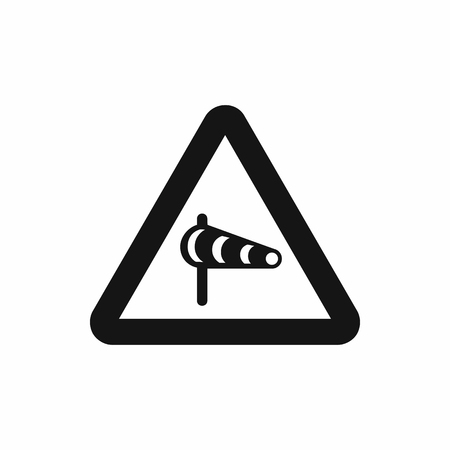 windsock: Sign warning about cross wind from the left icon in simple style isolatedon white background