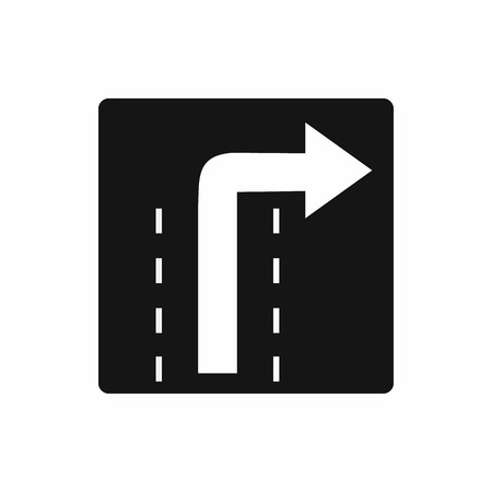 danger ahead: Turn right traffic sign icon in simple style isolated on white background