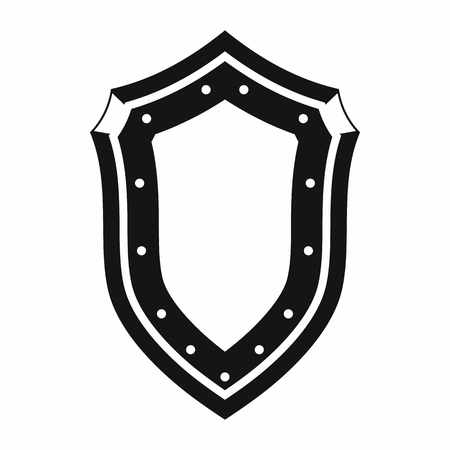 armor: Shield icon in simple style isolated on white background Illustration