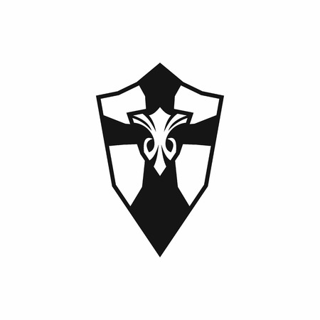 honour guard: Shield icon in simple style isolated on white background Illustration