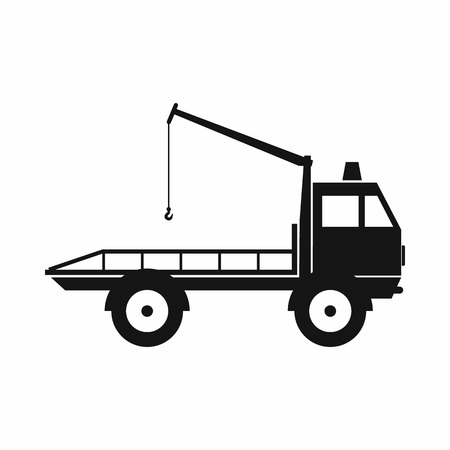 evacuating: Car towing truck icon in simple style isolated on white background