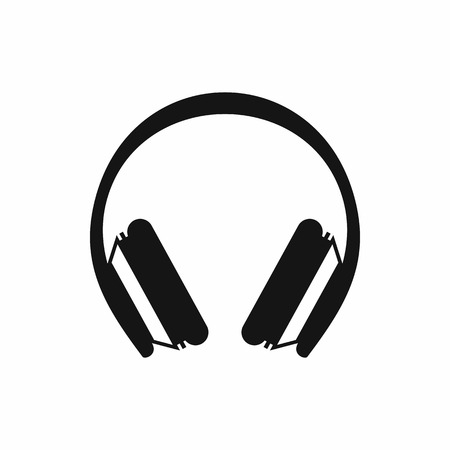 Beschermende koptelefoon icoon in eenvoudige stijl op een witte achtergrond