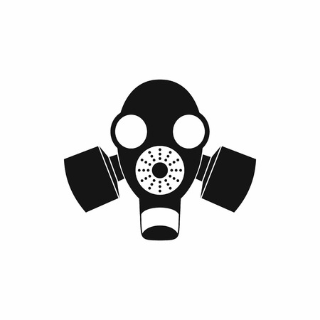 chemical weapons: Black gas mask icon in simple style isolated on white background Illustration