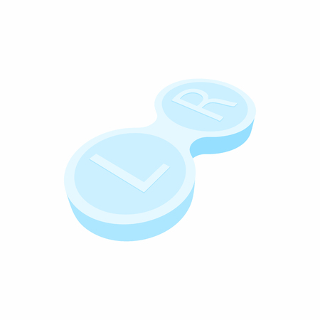 contact lens: Closed contact lens case icon in cartoon style on a white background