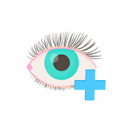 hyperopia: Hyperopia eyesight disorder icon in cartoon style on a white background
