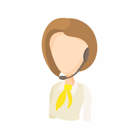 dispatcher: Taxi dispatcher with headset icon in cartoon style on a white background