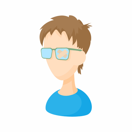 eyewear fashion: Young man with glasses icon in cartoon style on a white background Illustration