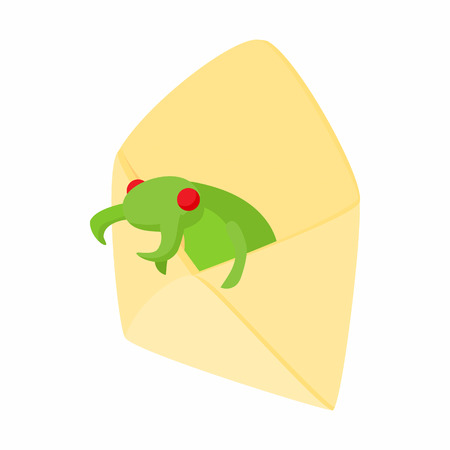 infected: Infected email icon in cartoon style on a white background