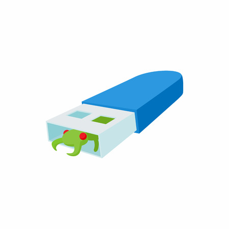 stick bug: Infected USB flash drive icon in cartoon style on a white background Illustration