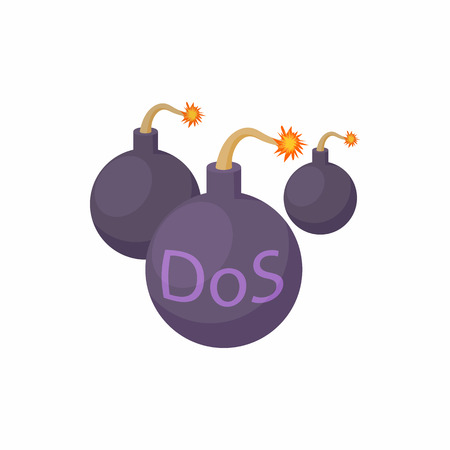 DOS and bombs with smoldering wick icon in cartoon style on a white background Illusztráció