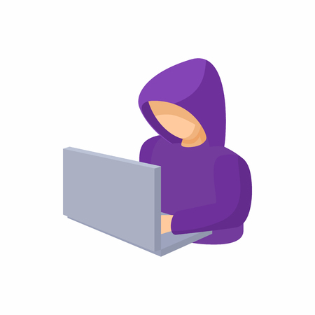 secret identities: Hooded computer hacker with laptop icon in cartoon style on a white background Illustration