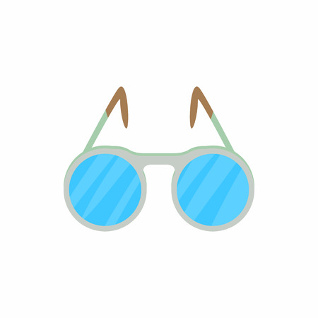 spectacle frame: Glasses with round lenses icon in cartoon style on a white background
