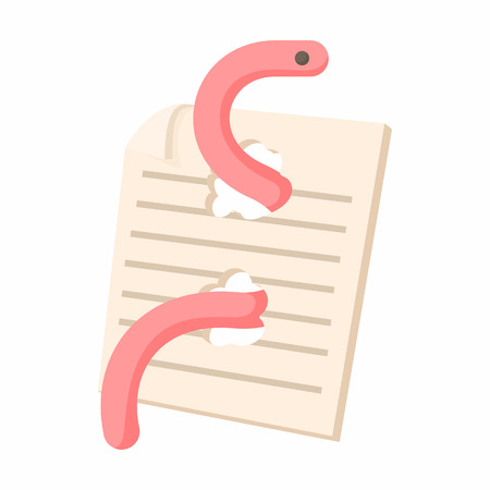 computer worm: Computer worm, document destruction icon in cartoon style on a white background Illustration
