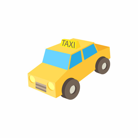 front wheel drive: Taxi car icon in cartoon style on a white background