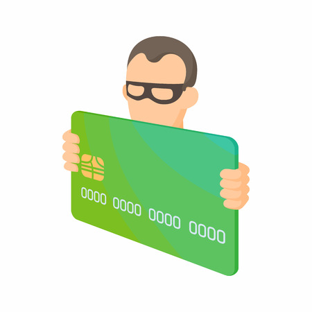 identity theft: Credit card thief icon in cartoon style on a white background