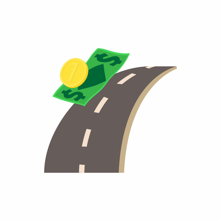 car bills: Money is on the road icon in cartoon style on a white background