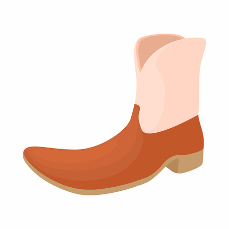 brown leather: Brown leather female boots icon in cartoon style on a white background