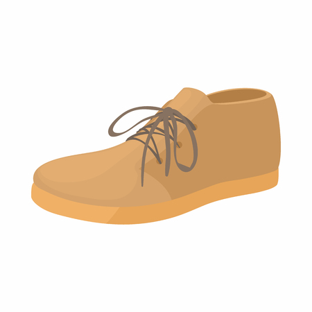 loafer: Brown boot icon in cartoon style on a white background Illustration