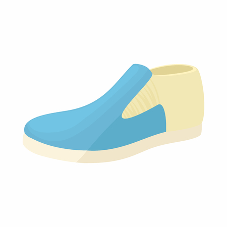 loafer: Blue man shoe icon in cartoon style on a white background