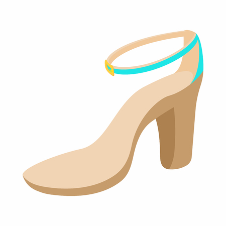 biege: Biege high heel shoe icon in cartoon style on a white background