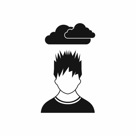 despondency: Depressed man with dark cloud over his head icon in simple style isolated on white background