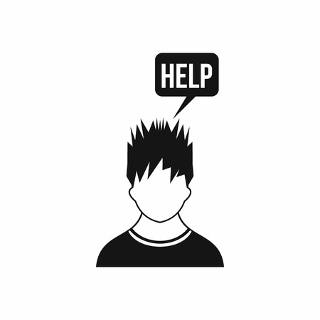 needs: Man needs help icon in simple style isolated on white background Illustration
