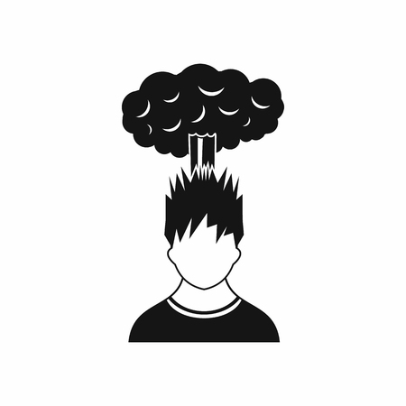despondency: Man with red cloud over head icon in simple style isolated on white background Illustration