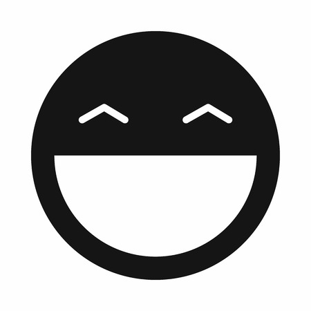 open mouth: Laughing emoticon with open mouth and smiling eyes icon in simple style