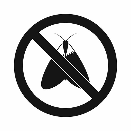 No moth sign icon in simple style isolated on white background