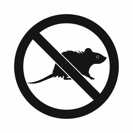exterminate: No rats sign icon in simple style isolated on white background Illustration