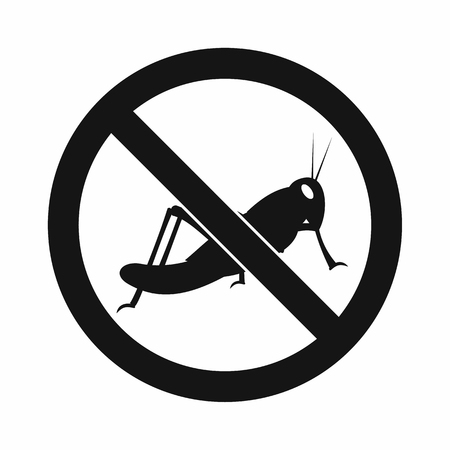 unhygienic: No locust sign icon in simple style isolated on white background Illustration