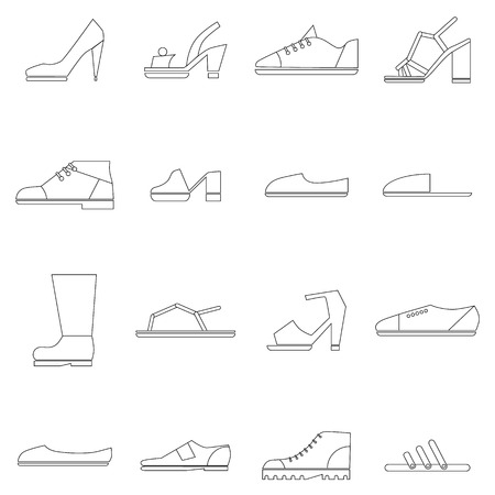 brogues: Shoes icons set in thin line style isolated on white background