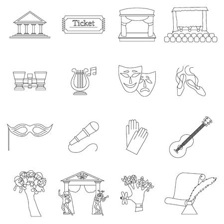literature: Art Culture icons set in thin line style isolated on white background Illustration