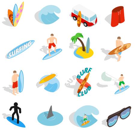 isons gesetzt in einer isometrischen 3D-Stil isoliert auf weißem Hintergrund Surfen
