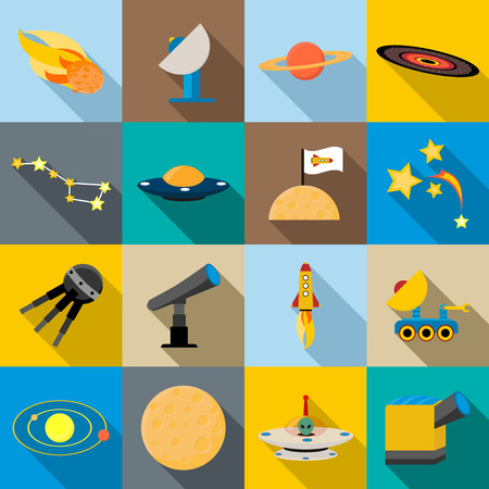 Space icons set in flat style for any desgn Illustration