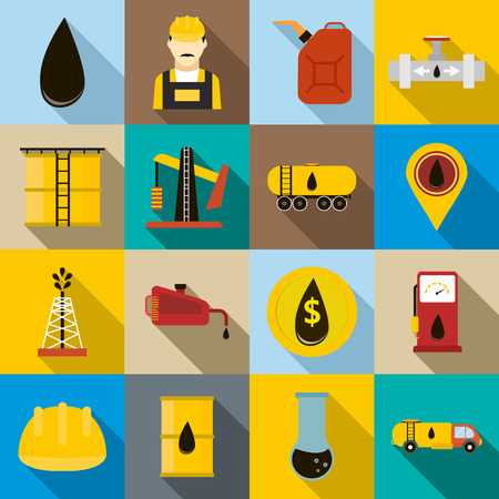 Oil icons set in flat style for any design