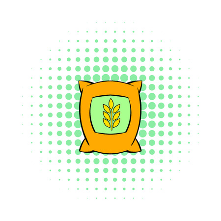 burlap sack: Bag of wheat icon in pop-art style on dotted background. Plants symbol