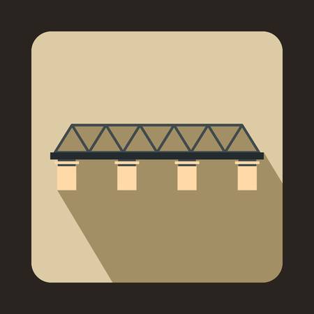 pillars: Bridge with pillars icon in flat style with long shadow. Construction and facilities symbol