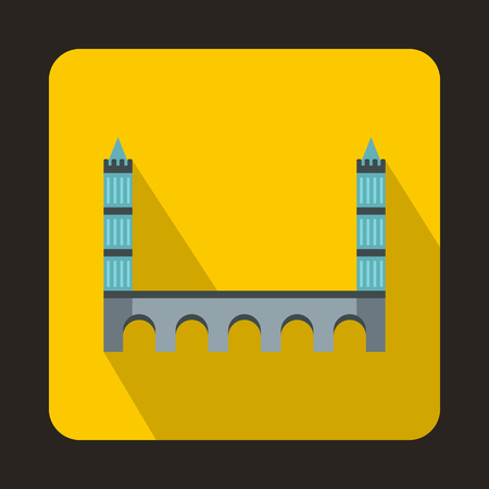 balustrade: Bridge with towers icon in flat style with long shadow. Construction and facilities symbol