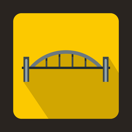 pillars: Bridge with round pillars icon in flat style with long shadow. Construction and facilities symbol Illustration