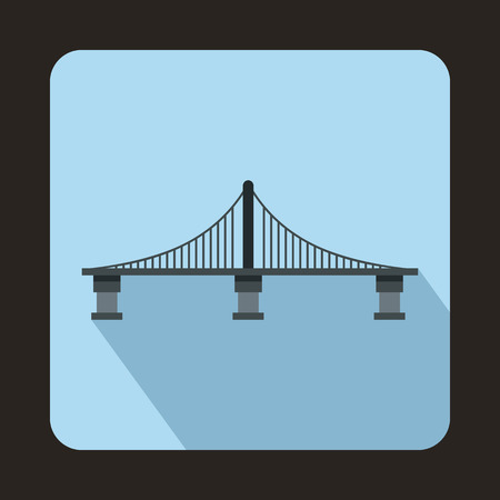 steel bridge: Bridge with steel supports icon in flat style with long shadow. Construction and facilities Illustration