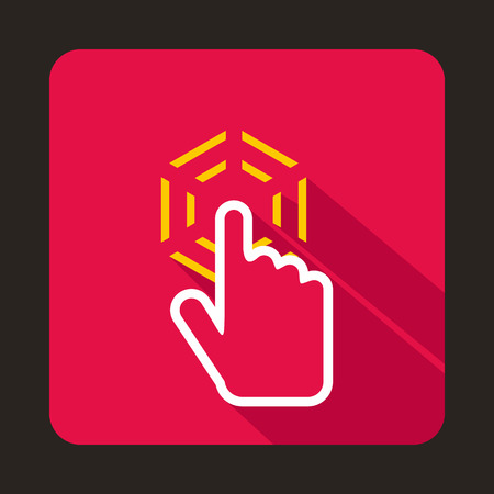 cursor hand: Mouse cursor hand icon in flat style with long shadow. Computer and internet symbol Illustration