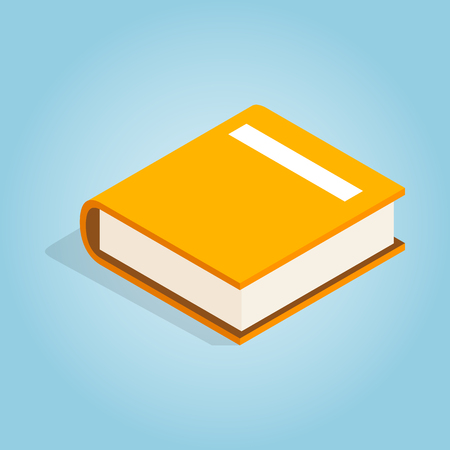 book reader: Big book icon in isometric 3d style on blue background. Reading symbol
